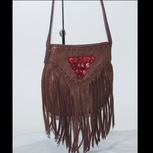 NEW  Leather Tassel Cross Body Shoulder Bag Purse